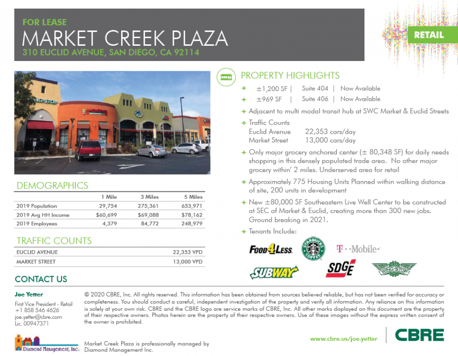 First page of leasing brochure for Market Creek Plaza